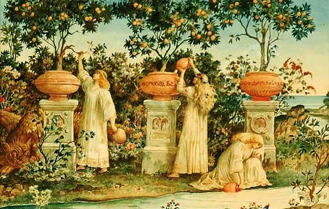 """El jardín de las Hespérides sería, según la mitología, un maravilloso huerto repleto de naranjos (las """"manzanas de oro""""), vigilado por tres ninfas de los árboles frutales."""