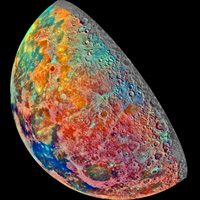 Color image showing soil composition on the Moon.