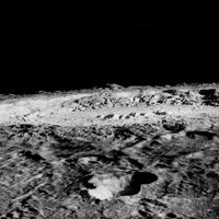 Black and white image of Moon crater.