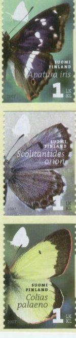 Filatelia: El mundo de las mariposas: Apatura iris, Colias palaeno, Scolitantides orion