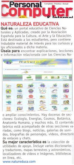 """Blog Cultureduca educativa public_pc1 Nuestra web Naturaleza educativa elegida como """"Web muy recomendada"""" en Personal Computer"""
